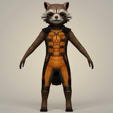 Rocket Raccoon Fantasy Character 3D Model