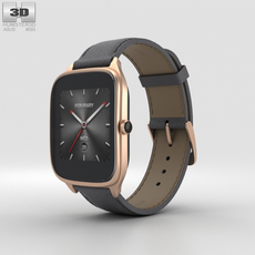 Asus Zenwatch 2 1.63-inch Rose Gold Case Taupe Leather Band 3D Model