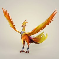 Game Ready Fantasy Phoenix Bird 3D Model