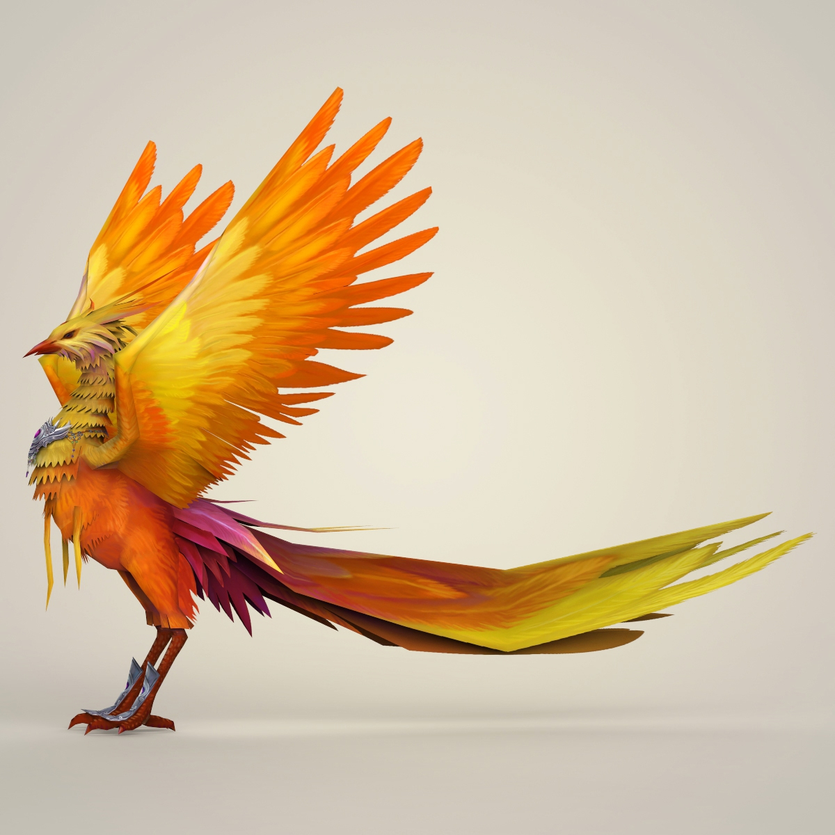 game ready fantasy phoenix bird 3d model