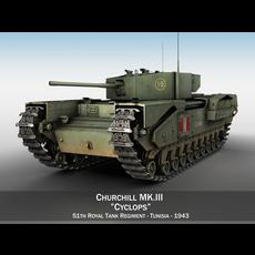 Churchill MK.III - Cyclops 3D Model