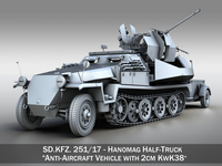 SD.KFZ 251/17 Ausf.C - Hanomag Anti-aircraft vehicle 3D Model
