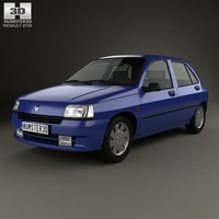 Renault Clio 5-door hatchback 1990 3D Model