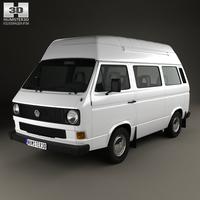 Volkswagen Transporter (T3) Passenger Van High Roof 1980 3D Model