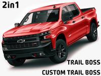 Chevrolet Silverado Trail Boss and Custom 3D Model