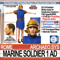 Roman Marine Soldier 1 AD with Poser Daz Props 3D Model