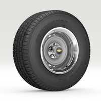 Vintage Chevrolet wheel and tire 8 3D Model