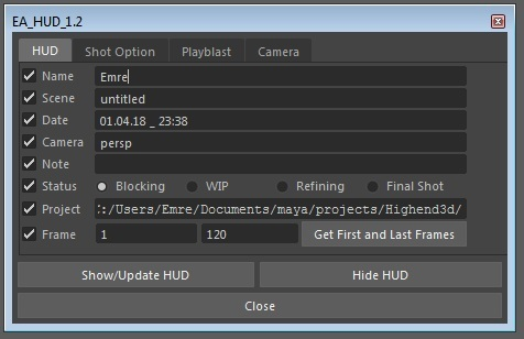 EA_HUD for Maya - Free Interface / Display Scripts / Plugins