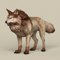 Game Ready Brown Wolf 3D Model