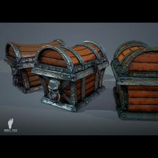 3 Pirate Treasure Chests 3D Model