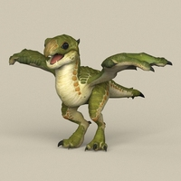 Game Ready Dragon Baby 3D Model