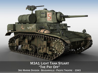 M3A1 Light Tank Stuart - The Pay Off 3D Model