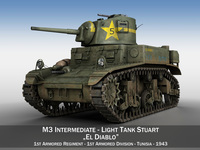 M3 Light Tank Stuart - El Diablo 3D Model