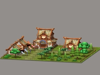 Cartoon Village 3D Model