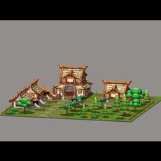 Cartoon Village 3D Model