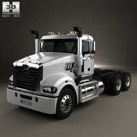 Mack Trident Axle Forward Day Cab Chassis Truck 2008 3D Model