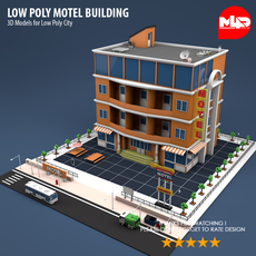 Low Poly Motel Building HOTEL 3D Model