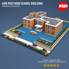Low Poly High School Building 3D Model