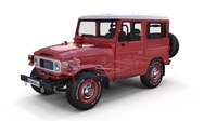 Toyota Land Cruiser FJ 40 Red with Interior and Chassis 3D Model