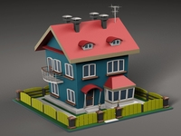 Cartoon house v2 3D Model