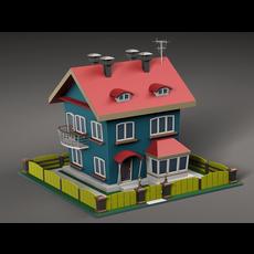 Cartoon house v2 3D Model