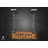 21 57 30 301 hanging sign boney toes 3d keep out 4