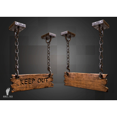 Keep Out! Hanging Sign 3D Model