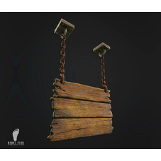 Hanging Wooden Signs 3D Model