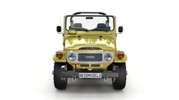 Toyota Land Cruiser FJ 40 Top Down with Chassis and Interior 3D Model