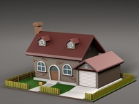 Cartoon house v4 3D Model