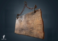 Hanging Wooden Sign 3D Model