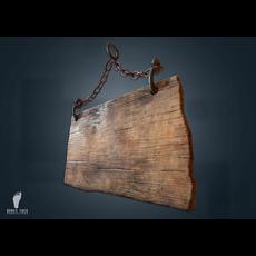Hanging Wooden Sign 3D Model