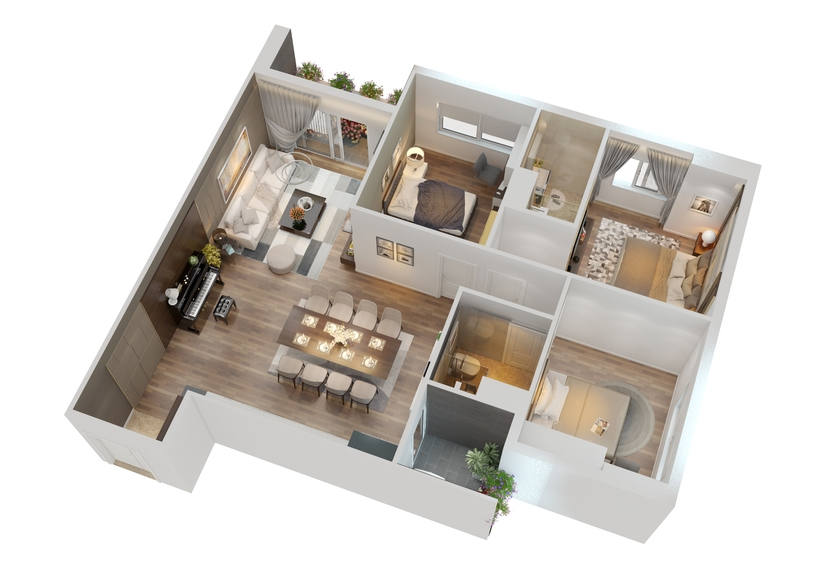 CUTAWAY MODERN APARTMENT FULL FURNITURES 3D Model