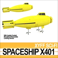 Spaceship X401 3D Model