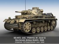 PzKpfw III - Panzer 3 - Ausf.G - DAK - 211 3D Model