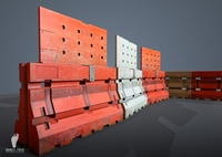 Plastic Jersey Barricade GAME READY 3D Model