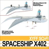 Spaceship X402 Fighter 3D Model