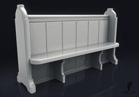 Wooden Church Pew Bench 3D Model