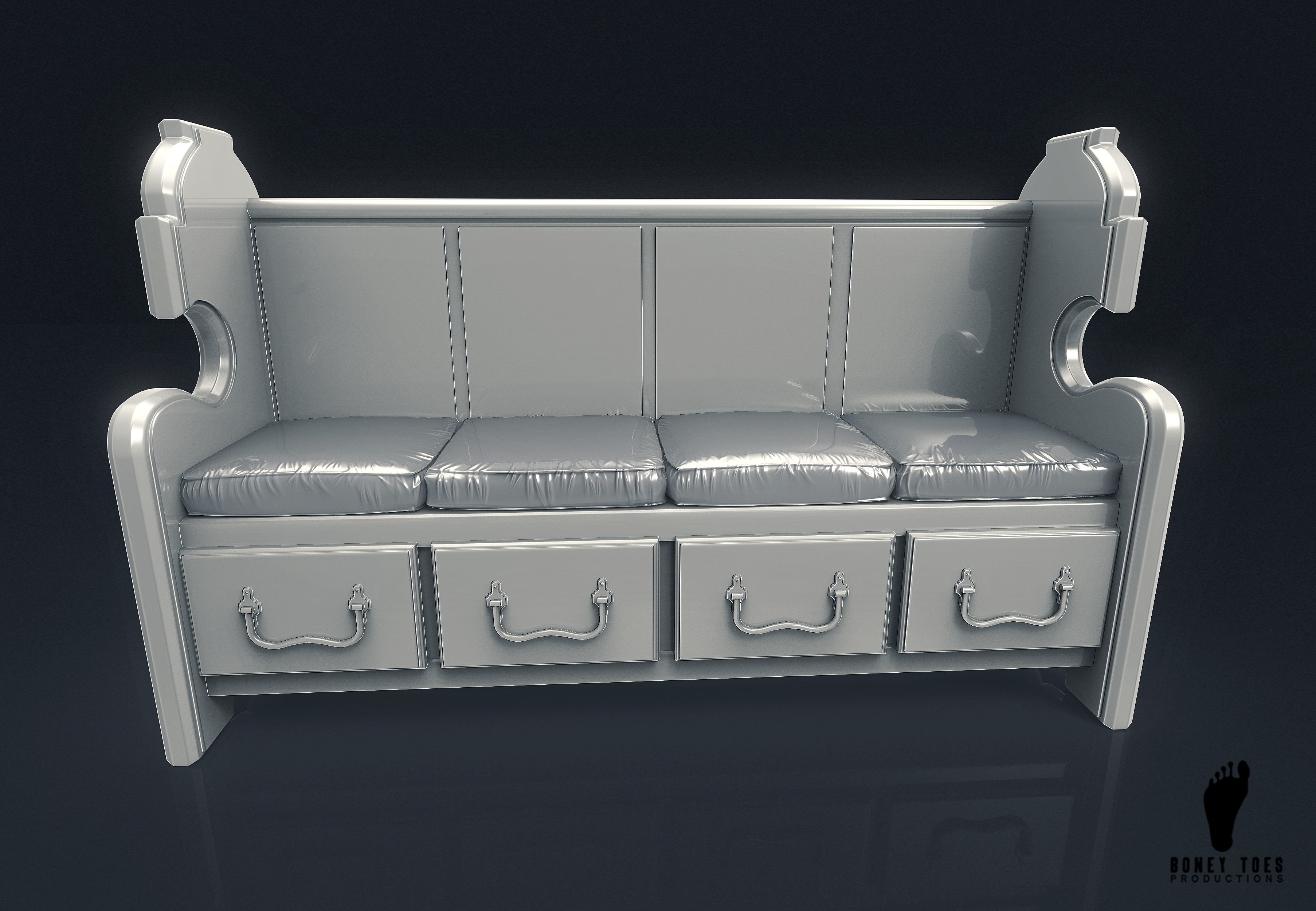 Church Bench With Cushion 3d Model
