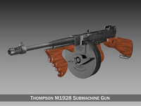 Thompson M1928 Submachine Gun 3D Model