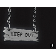 "High Poly ""Keep Out"" Sign 3D Model"