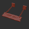 02 25 53 219 3d keep out wooden hanging sign 4 wireframe 4