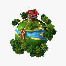 Planet Village 3D Model