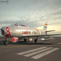 North American F-86 Sabre 3D Model