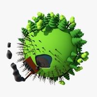 Planet Cartoon 03 Industry 3D Model