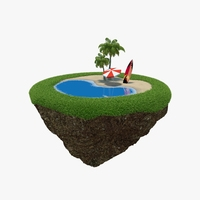 Green Peace Island Beach 3D Model