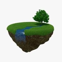 Green Peace Island River 3D Model