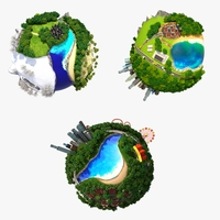 Collection Planet World 3D Model
