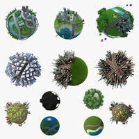 Collection Planet City 3D Model