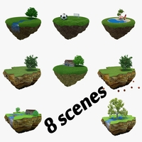 Collection Cartoon Islands 3D Model